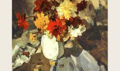 Lev Russov. Flowers on the Table. Oil on canvas, 99х75. 1957