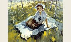 Lev Russov. Girl with bows. Oil on canvas, 83х101. 1954