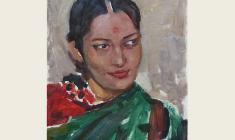 Lev Russov.  Indian Girl. Oil on cardboard, 43,2х32. 1957