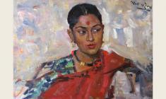 Lev Russov. Indian Girl. Oil on cardboard, 50х70. 1957