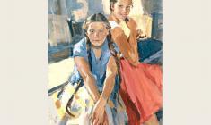 Lev Russov. Kira and Zoya. Oil on canvas, 123х93. 1958