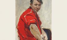 Lev Russov. Man in the Red Shirt. Oil on cardboard, 80х50. 1973