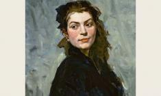 Lev Russov. Portrait of Ekatherine Balebina. Oil on canvas, 60,5х50,5. 1956