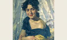 Lev Russov. Portrait of Young Woman. Oil on canvas,70х56. 1957