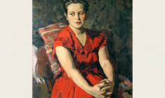Lev Russov. Portrait of a Young Woman in Red. Oil on canvas, 98,5х74,5.1056