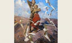 """Lev Russov. Song of Til. From the series """"Til Eulenspiegel"""". Oil on canvas,100х75. 1956"""