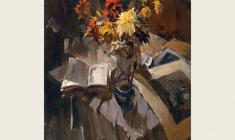 Lev Russov. Still-life with a Bouquet. Oil on canvas,128х100. 1959