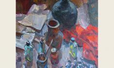 Lev Russov. Still-life with Red Matter. Oil on canvas, 84х82. 1959