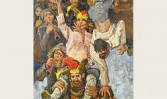 Lev Russov. Jugglers. Oil on canvas, 175х130. 1976