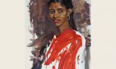 Lev Russov. Student from India. Oil on wood, 72х51. 1957