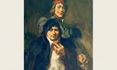 "Lev Russov. Til and Lame. From the series ""Til Eulenspiegel"". Oil on canvas,100х75. 1956"