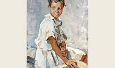 Lev Russov. Zoya. Oil on canvas,109х72. 1957