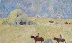 Ivan Savenko.  Harvesting in Sednev. Oil on cardboard, 34,3х38,5. 1977