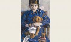 Vladimir Seleznev.  Girl with a Teddy Bear. Oil on canvas, 75х40. 1962