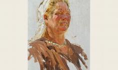 Alexander Sokolov. Collective farmer. Oil on canvas, 40х27,5. 1950