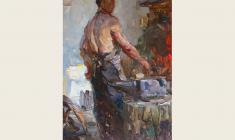 Alexander Sokolov. Blacksmith. Oil on cardboard, 35х24,5. 1952