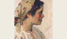 Alexander Sokolov.  Girl in a Red Kerchief. Oil on cardboard,35х24,5. 1952