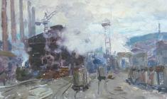 Alexander Sokolov. Metallurgical Plant Magnitka  Oil on canvas, 27х34,8. 1968