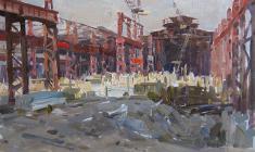 Alexander Sokolov. Metallurgical Plant in Repair. Oil on cardboard, 32,5х47. 1960