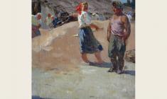 Alexander Sokolov. On Fhreshing Floor. Oil on canvas, 39х39. 1952