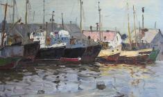 Alexander Sokolov. Seiners. Oil on cardboard, 32,8х47,8. 1971