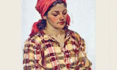 Alexander Sokolov.  Woman in a Red Kerchief. Oil on cardboard, 35х25. 1952
