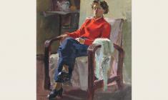 А. Шмидт. Молодая женщина в интерьере. Х.м., 59х44. 1951