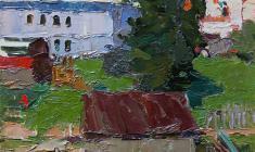 Н. Штейнмиллер. Маленькая баня в Старой Ладоге. Карт.,м., 48,5х34,7. 1959