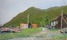 Vladimir Sakson. Bolshije Koty village on the Shore of Lake Baikal. Oil on cardboard, 34,5х49,3. 1958