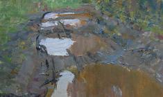 Vladimir Sakson. Gloomy Time. Oil on cardboard, 70х50. 1971