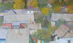 Vladimir Sakson.  Goryachiy Klyuch Village. Oil on cardboard, 68х48,2. 1970
