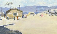 Vladimir Sakson.  Khuzhir Village near Lake Baikal. Oil on cardboard,21,5х49. 1958