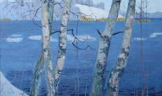Vladimir Sakson. View of Msta River near the Academic Dacha. Oil on canvas, 79х90. 1986