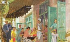 Alexander Samokhvalov. Cafe Gurzuf. Oil on cardboard, 50х50,3. 1956