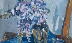 Elena Skuin. Wisteria. Oil on canvas, 60х45. 1969