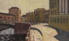 Alexander Tatarenko. On the Moyka in Leningrad. Oil on cardboard, 15х20. 1978