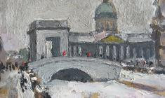 Alexander Tatarenko. Kazan Cathedral in Leningrad. Oil on cardboard,15х20. 1982