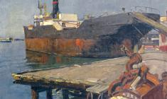 Alexander Tatarenko. Odessa Ship Cemetry. Oil on canvas, 41х50. 1953