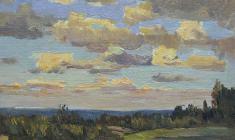 Г. Татаринов.  Вечерние облака.  Карт.м.,16х21,8. 1971