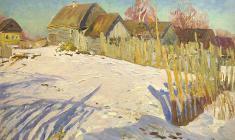 Г. Татаринов.  Весна в деревне Чернавино.  Карт.м.,46х71,2. 1961