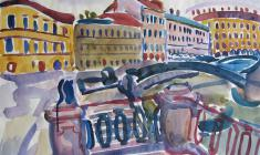 Victor Teterin. The Griboyedov Canal near Sennaya Square. Watecolor on paper, 50х64,5. 1969