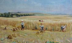 В. Тетерин.  Harvesting. Oil on canvas, 47х61,5. 1950