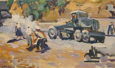 Victor Teterin.  Road Workers.  Oil on canvas, 40х70. 1958