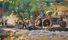 Victor Teterin. Road Works.  Oil on canvas, 40,5х70. 1958