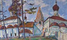 Victor Teterin. Trinity Cathedral in the Old Pereslavl-Zalessky.  Oil on canvas, 100х121. 1963