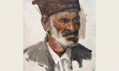 Л. Ткаченко. Азербайджанец в папахе. Х.м., 27х19. 1948