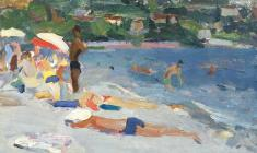 М. Труфанов. Пляж в Евпатории. Карт.м., 24,5х37. 1965