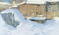 Александр Семёнов. Yard in the Old Ladoga. Oil on cardboard, 50х70. 1974