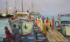 Arseny Semionov. Pier in Yalta. Oil on cardboard, 34,7х48,5. 1959