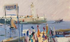 Arseny Semionov. Pier in Yalta. Oil on cardboard, 35,2х28. 1959